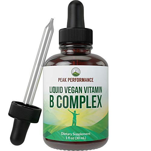 B Complex Liquid Drops Vegan Supplement. Best 5 B Vitamins with B3 Niacin, B6, B7 Biotin, B9 Folate, Methylcobalamin B12. B-Complex for Hair, Skin Nails, Energy, Stress Relief. for Adults, Men, Women