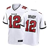 ZGRW Brady Maillot de football américain pour homme - T-shirt Buccaneers #12 - Maillot d'entraînement de rugby - Broderie à manches courtes, blanc, M