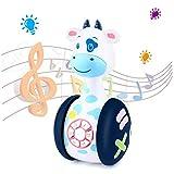Tinabless Juguete musical para bebé con diseño de vacas de leche, juguete para niños con luces LED, juguete para niños pequeños y desarrollo interactivo de aprendizaje, regalo de Navidad o cumpleaños