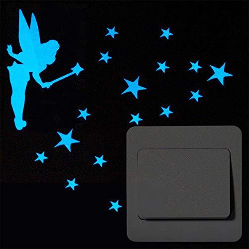 JOJYO Lichtschalter Aufkleber,Wandtattoo Sterne euchtaufkleber lichtschalter Lichtschalter oder die Wand Wandtattoo Fluoreszierende leuchtende Sticker
