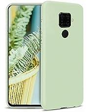 Ttimao Compatible con Funda Huawei Mate 30 Silicona Líquida Gel Cubierta+1*Protector de Pantalla Anti-Shock Funda Protectora con Cojín de Forro de Tela de Microfibra Suave-Verde
