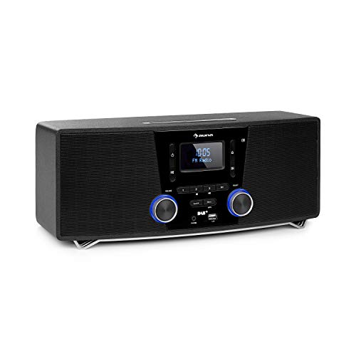 auna Stockton Micro Stereosystem 20W max 2X 5W RMS DAB UKW Radiotuner RDS Funktion CD Player Bluetooth USB Port AUX IN OLED Display X Bass EQ Timer Weckfunktion schwarz