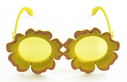Körner Festartikel Sonnenblumen Brille Sunshine - Gelb - Zubehör zum Gärtnerin Zwerg Clown oder Hippie Kostüm