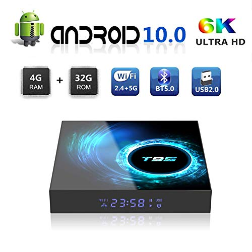 Android TV BOX, T95 Android 10.0 BOX 4GB RAM 32GB ROM H616 Quad Core Ultra HD 6K Risoluzione Supporto Bluetooth 5.0 WIFI 2.4G & 5G Ethernet Smart Media Player (4+32G)