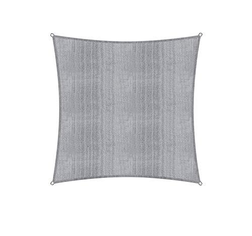Lumaland Voile d'ombrage Cordes de Fixation incluses, 100% HDPE avec Le Filtre UV de Protection 3x3 Gris