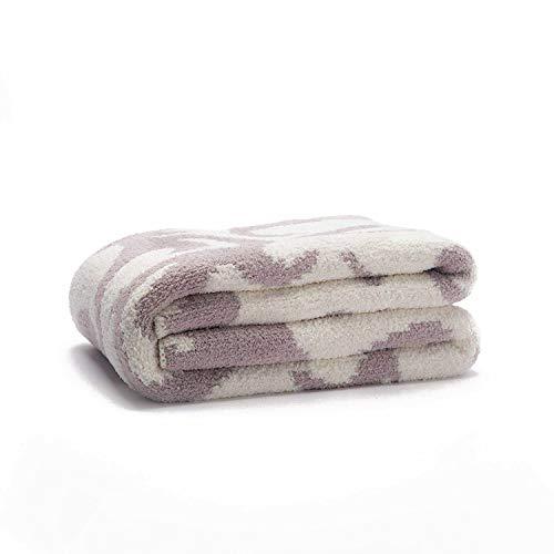 "Sunday Citizen Casablanca Double Sided Snug Throw Blanket, Ultra Soft - Over Sized 52"" x 75"" Inch (Snow White & Purple Haze)"