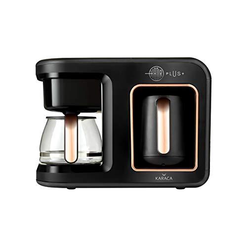 Karaca Hatir Plus 2 in 1 Filterkaffee&Turkischen Kaffeemaschine, Black Copper, Fur 5 Personen, 1385W, Filter aus Edelstahl, Glas-Kanne, Kaffeevollautomat