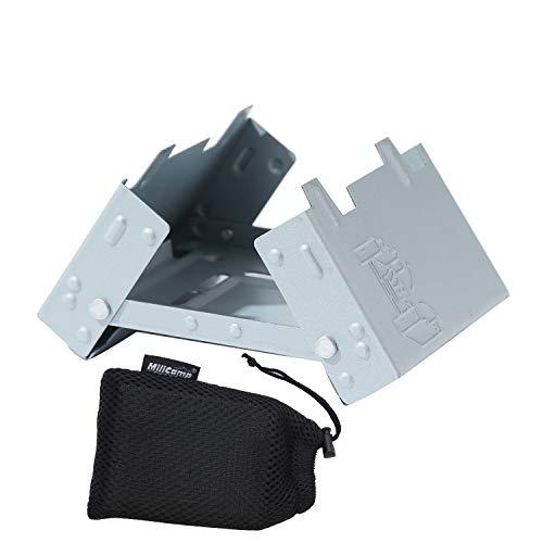 MiliCamp ポケットストーブ 固形燃料ストーブ ソロキャンプミニコンロ 防災グッズ 収納袋付き 折りたたみ式 五徳 軽量 コンパクト