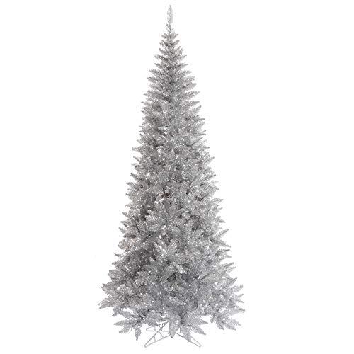 Vickerman 7.5' Silver Tinsel Fir Slim Artificial Christmas Tree, Unlit - Faux Silver Christmas Tree - Seasonal Indoor Home Decor