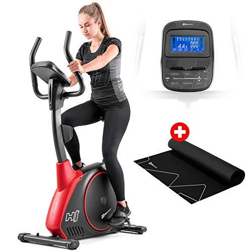 Hop-Sport Heimtrainer Fahrrad HS-095H inkl. Unterlegmatte - Ergometer mit App-Steuerung, 12 Trainingsprogrammen, 32 Widerstandsstufen, Schwungmasse 13,5 kg - Fitnessbike max. Nutzergewicht 135 kg