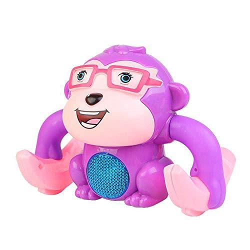 QJJ Electric Tumblbling Little Monkey Somersault Soundling Sound and Light Boy Baby Baby Puzzle Puzzle Juguete de los niños (sin batería) (Color : Purple)