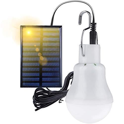 Solarlichter Glühbirne, Solar Glühbirne LED 3W mit Solar Panel Beleuchtung, 3m Ladekabel für Wandern Camping Zelt Angeln Gartenhaus