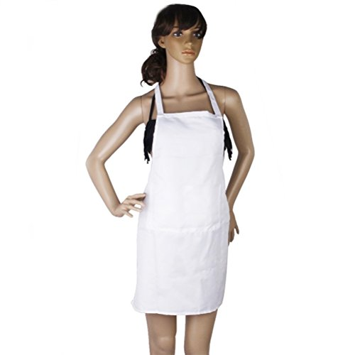 LEORX Sans manches cuisine cuisine tablier avec poche (blanc)