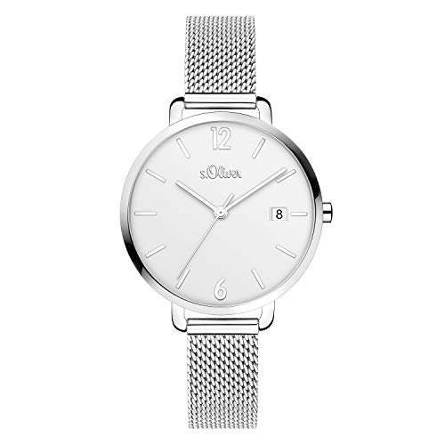 s.Oliver Damen Analog quarz Armbanduhr mit Edelstahl SO-4131-MQ