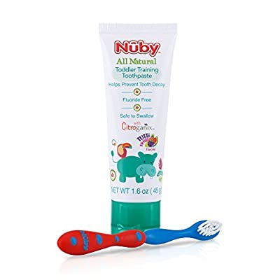 Dr. Talbot's All Natural Toddler Toothpaste with Citroganix with Toothbrush, Red/Blue