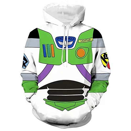 Buzz Lightyear Hoodies, impresión 3D Buzz Lightyear Halloween Cosplay Astronaut Costume Casual Pareja Sudadera para Hombres Mujeres Sudaderas con Cremallera Sudaderas Chándal Chaqueta