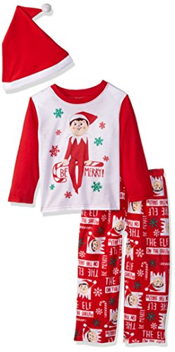 The Elf on the Shelf Kids' Little Family Sleepwear Collection with Santa Hat, Mercury red, 6