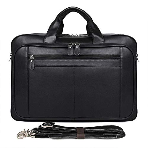 Laptop Messenger Satchel Bag Briefcase Handbag, Mens Briefcase Double Compartment 17inch Laptop Business Portfolio Expandable Shoulder Handbag Genuine Leather Messenger Bag PC Netbook Classic Stylish