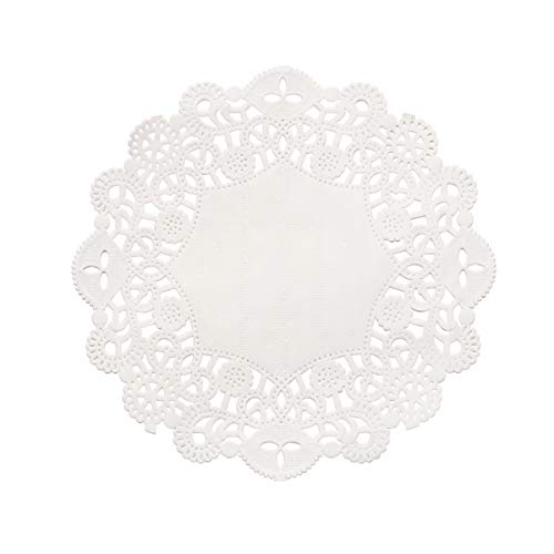 BESTONZON 100pcs napperons de Papier de Dentelle Blanche Absorbant l'huile jetables thé Tables à gâteaux décoratives napperons de boîte à gâteaux (5,5 Pouces)