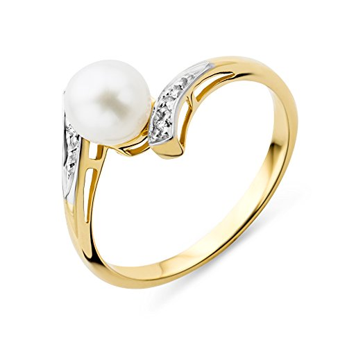 Miore Ring Women Freshwater Pearl with Brilliant Cut Diamonds Yellow Gold 9 Kt / 375
