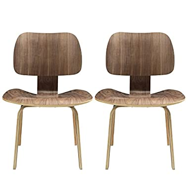 Modway Fathom Mid-Century Modern Molded Plywood Two Dining Chair Set in Walnut