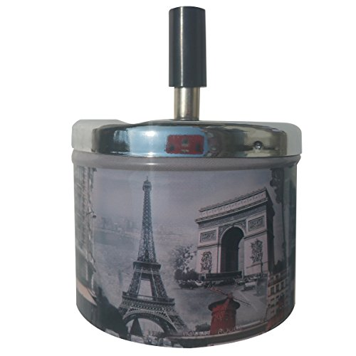 Coralpearl Smokeless Metal Tin Push Down Ashtray for Cigarettes Cigars with Spinning Tray Lid Covered Portable Ash Tray…