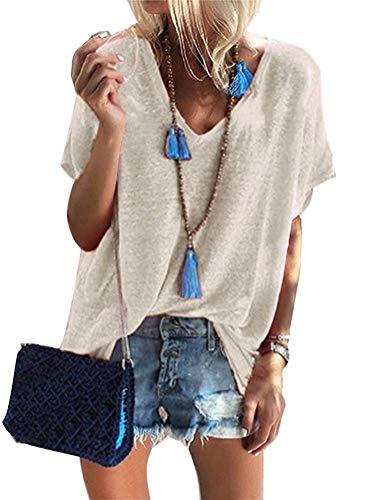 Damen Sommer Kurzarm Blusen T-Shirt V-Ausschnitte Loose Oversize Shirt Oberteile...