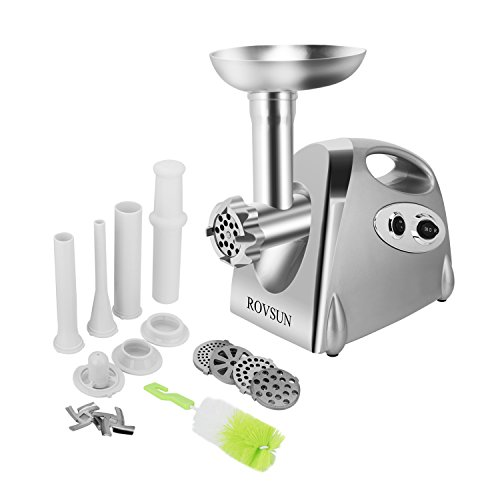 ROVSUN Electric Meat Grinder, 800W Heavy Duty Mincer Sausage Stuffer Food Processor with 4 Grinding Plates 3 Sausage Tubes 2 Stainless Steel Blades Kubbe Attachment & Brush, For Home Use, Silver