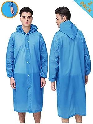 "HLK.Sports Rain Coats, [2 Pack] EVA Reusable Rain Coat Jacket with Hood, Size 59"" by 27.5"""