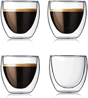 Espresso Cups, Double Walled Cups for Espresso Coffee, Turkish Tea, Cappuccino, Latte, Demitasse, 80 ml 2.5 oz Set of 4 pcs