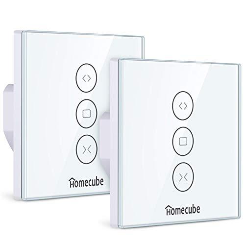 Rolladen Zeitschaltuhr,Homecube Smart Vorhang Schalter,WiFi Rolladenschalter,Smart Jalousien Schalter mit Touch Panel, Alexa und Google Assistant,APP Fernbedienung und Timing Funktion (2 Pack)