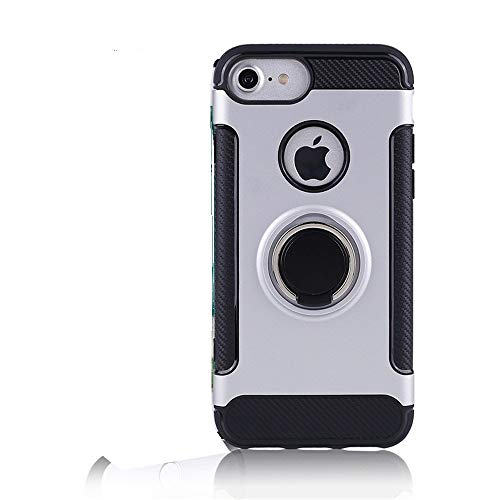 iPhone 7 Case,Cool iPhone 8 Case Ring Holder Kickstand Magnetic Base Dual Layer Car Mount Rotable Hybrid Shield Clip Dual Layer Protective Hard Shell TPU Bumper Best iPhone 7/8 Case (4)