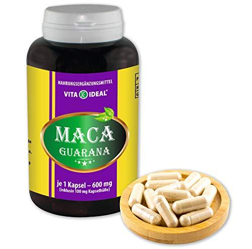 VITAIDEAL ® Maca mit Guarana (Maca-Wurzel, Guarana-Samen) 180 Kapseln je 600mg, aus rein natürlichen Kräutern, ohne Zusatzstoffe von NEZ-Diskounter