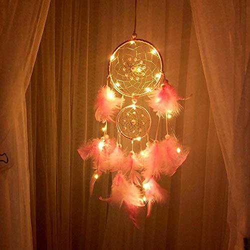 Luz ambiental hecha a mano atrapasueños, plumas nocturnas, decoración para colgar en la pared del coche, decoración del hogar, regalos (color D: D)