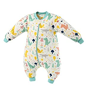 Saco de Dormir de Bebé con Piernas 3.5 Tog Invierno Bolsa de Dormir Algodón Desmontable Manga para Niños Niñas, 0-2 Años