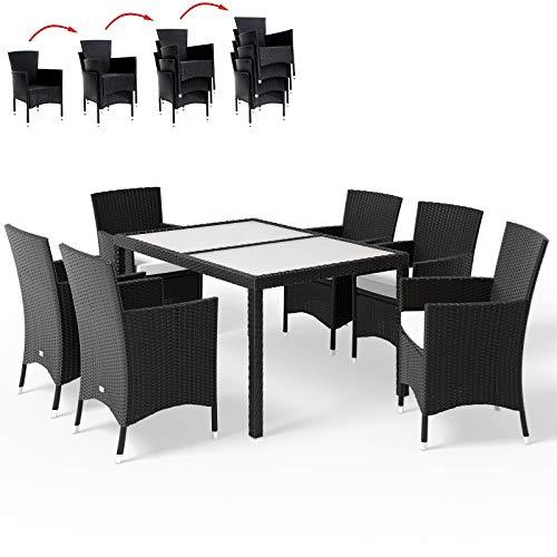 Deuba - Salon de Jardin - Ensemble 6+1 - Noir, polyrotin - 6 chaises empilables + Table avec Plateau en Verre dépoli - Coussins Couleur crème Compris - Mobilier de Jardin