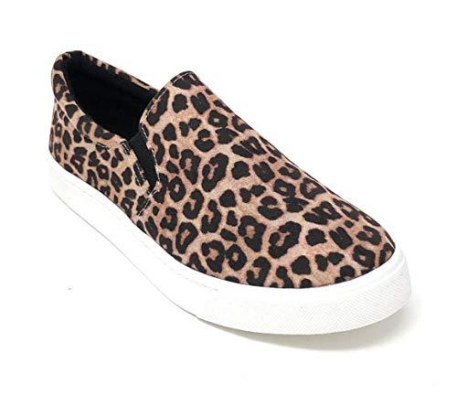 SODA Women's Reign Slip-On Sneakers (8.5 M US, Oatmeal Cheetah)