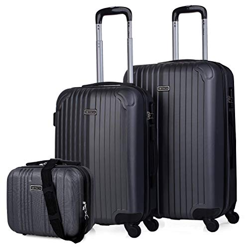 ITACA - Set 2 Suitcases and Beauty case 4 Wheels ABS. Rigid and Lightweight. Padlock. Extensible. Small and Medium T71515B, Color Anthracite