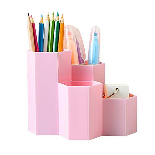 4Pcs lapiceros para escritorio,Organizador de escritorio,compartimentos Soporte para bolígrafo,Portalápices Multifuncional,Soporte para bolígrafo de Escritorio,Organizador de Pluma (Lindo rosa)