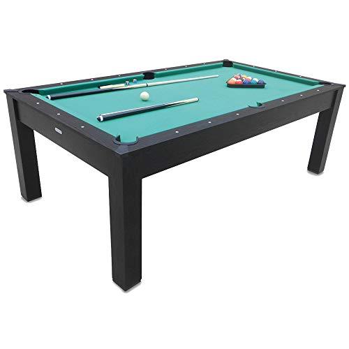 DE VES SPORT Devessport - Multigioco 3 in 1, biliardo, ping-pong, tavolo da pranzo, 215 x 121 x 78 cm, colore: nero