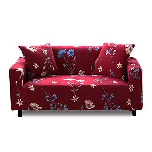 Fashion·LIFE Sofaüberwurf 3 Sitzer Elastischer Sofabezüge Blumen-Muster Schonbezug Polyester Multifunktio Couchabdeckung Wohnkultur für Ganze saiso,Rot