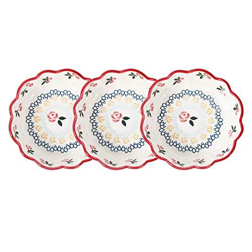Ensalada de flores Tazón de cerámica del color del caramelo del cereal de desayuno del cuenco de fruta postre sopa de fideos Tazón restaurante Horno de microondas Vajilla cuenco (Color : 3red)