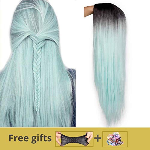 HBINGBING Green Straight Long Synthetic Wigs For Women Wigs 24 inch can be Cosplay Wigs