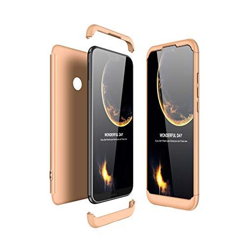 JMGoodstore Funda Compatible Huawei P20 Lite,Carcasa Huawei P20 Lite,360 Grados Integral Ambas Caras+Cristal Templado, 3 in 1 Slim Dactilares Protectora Skin Caso Cover Oro