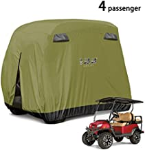 10L0L 4 Passenger Golf Cart Cover Fits for EZGO, Club Car and Yamaha, 400D Waterproof with Extra PVC Coating Sunproof Dustproof Black Army Green