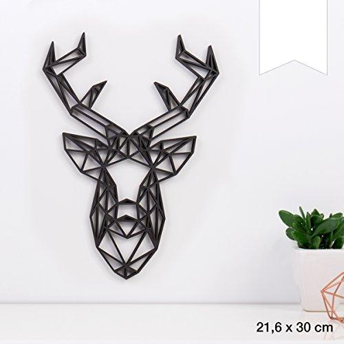 KLEINLAUT 3D-Origamis aus Holz - Wähle EIN Motiv & Farbe - Hirschkopf - 21,6 x 30 cm (L) - Weiß