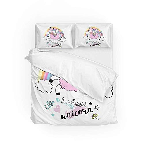 Soft Quilt Bedding Set Llama Unicorn Rainbow Duvet Cover with 2 Pillowcases Set 3 PCS 200 x 200 CM, Double Size