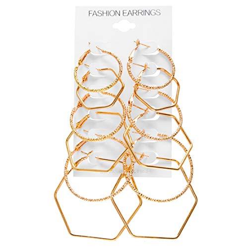 YSINFOD Juego de 6 pares de pendientes geométricos con diseño minimalista para mujer, estilo punk, estilo rockero
