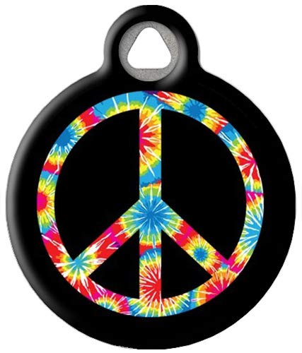 Dog Tag Art Custom Pet ID Tag for Dogs - Tie Dye Peace Symbol - Small - .875 inch
