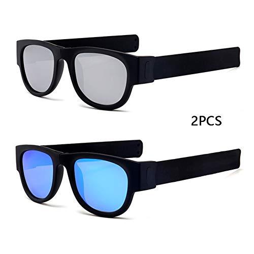 DASGF Polarisiert Sonnenbrille,2PCS,Sport Sonnenbrille,Sportbrille,Radbrille Mit UV400 Schutz FüR Unisex,FüR OutdooraktivitäTen Wie Radfahren Laufen Klettern Laufen Angeln,Faltbare Armband Design,B